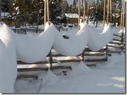 Snögirlanger på gärdsgård